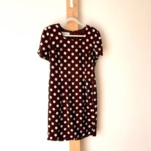 Maggy London brown silk polka dot dress